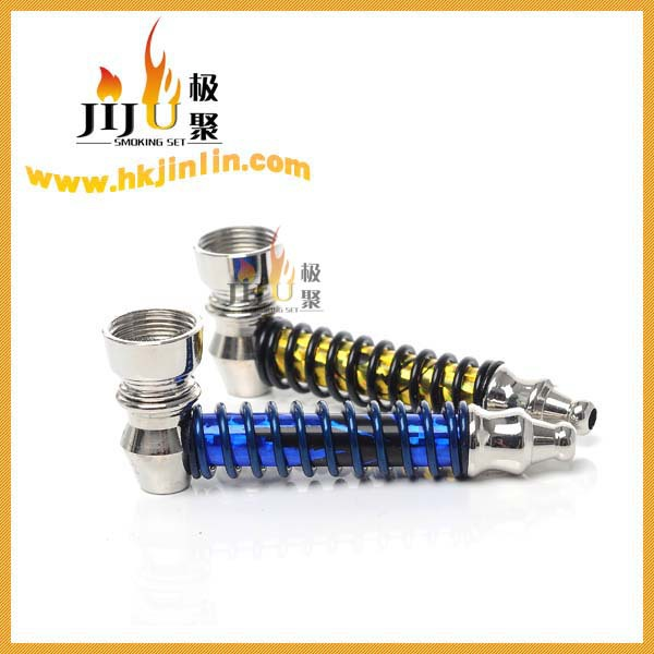 JL-188 Yiwu Jiju Metal Spring Glass Water Smoking Pipe