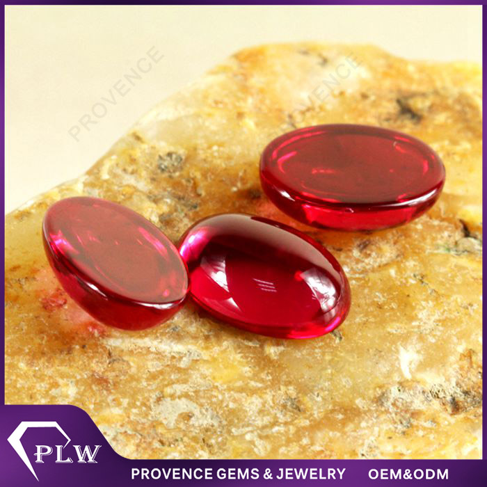 Factory Prices Oval Shape Flat Bottom Synthetic Ruby Corundum Stones