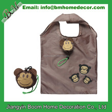 190T Polyester Eco Reusable Cartoon Monkey Shape Foldable Shopping Bag