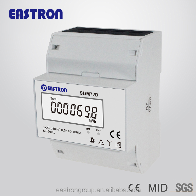 SDM72D three phase four wire electricity meter CE approved 100A direct load