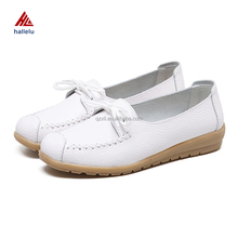 2017 Summer Fashion Designer Genuine Leather Mom Flat Loafers Comfortable Breathable Solid Ladies Working Casual Shoes