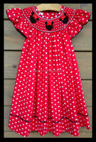 Latest fashion Christmas Mouse dot hand embroidered smocked red bishop dress for baby girl boutique dress