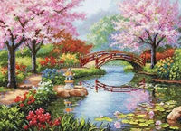 Japanese Garden Unprinted Counted Cross Stitch Kits 14ct Embroidery Set Room Decoration Gift Free Shipping