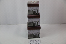 Paris iron tower Square Cardboard paper storage box set of three