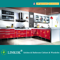 Linkok Furniture modular Free standing red glossy acrylic kitchen cabinet