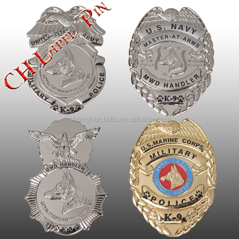 Various shapes and sizes of high quality metal badges