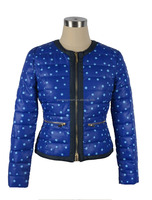 women's collarless padded jacket.