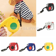 LED Light Retractable Dog Leash Pets Extending Walking Nylon Leads