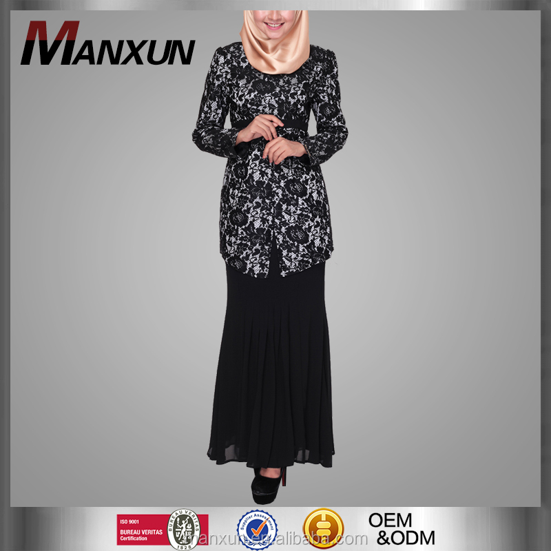 2016 New Arrival Islamic Muslim Chiffon Dresses Fashion Design Black Lace Baju Kurung