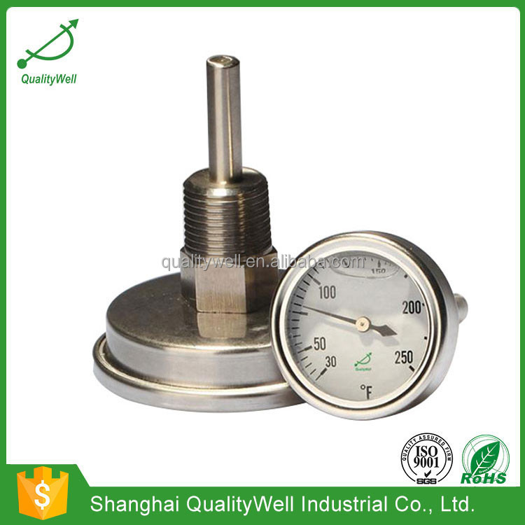 back connection oil filled bimetal thermometer