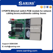 OEM 10/100Mbps 3 ports Ethernet switch PCB/ module