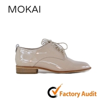 MK031-33 beige high quality new design real leather women flat heel dress shoes