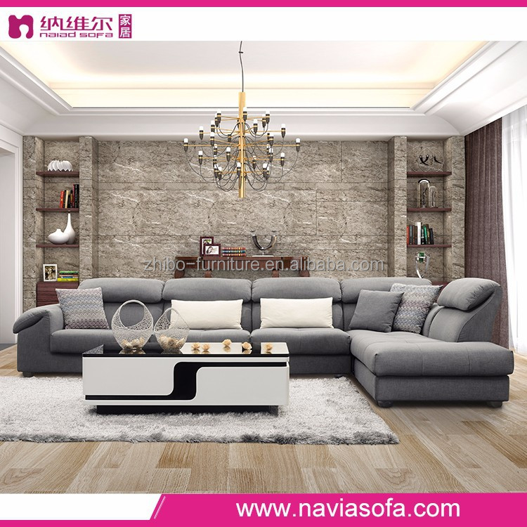 Quality Living Room Sofas Furniture Gray Fabric Corner L-shape Buy ...