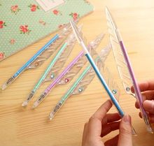 cute transparent feathers shaped glitter gel pen color 0.38mm refill