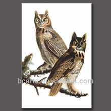 100% handmade animal art two lovely owls oil painting on canvas