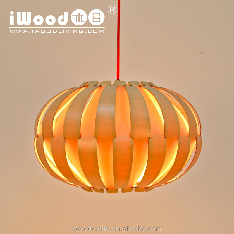 Halloween new modern round oak wooden pumpkin chandelier