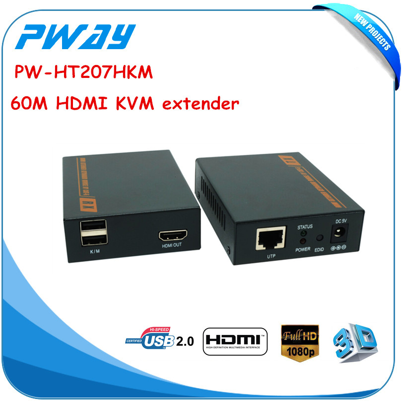 support 1080P 3D keyboard and mouse USB extender KVM extender 60m ( over a single CAT6 cable) HDMI extender