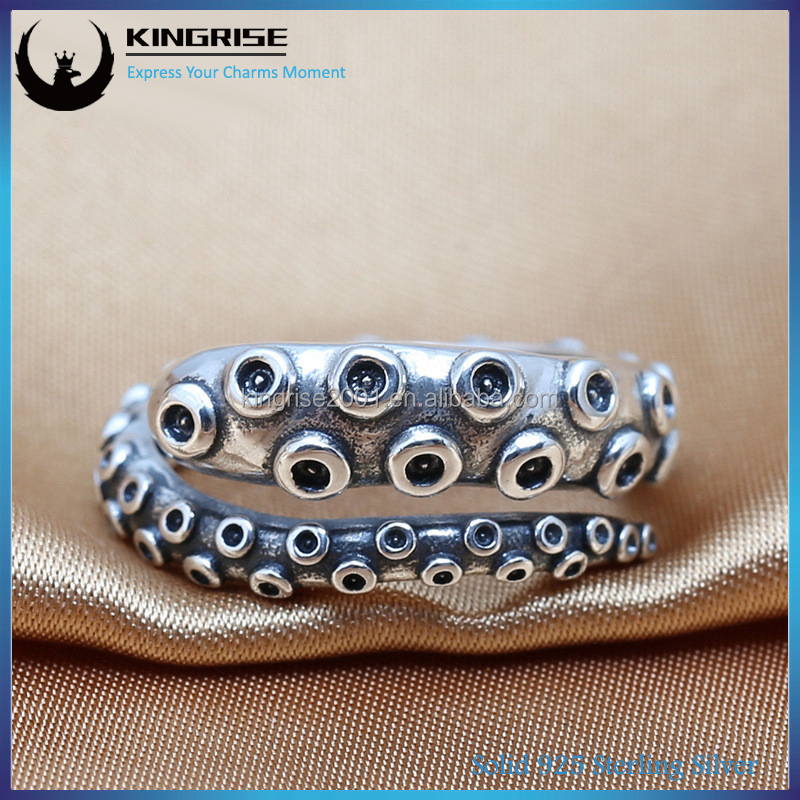 New Stylish 925 Sterling Silver rings of Retro Octopus tentacles silver rings jewelry for fashion man and women