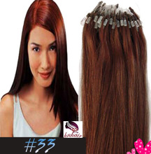 Remy Human hair factory price hot sale Best Quality micro ring loop hair extensions #33 Dark Auburn