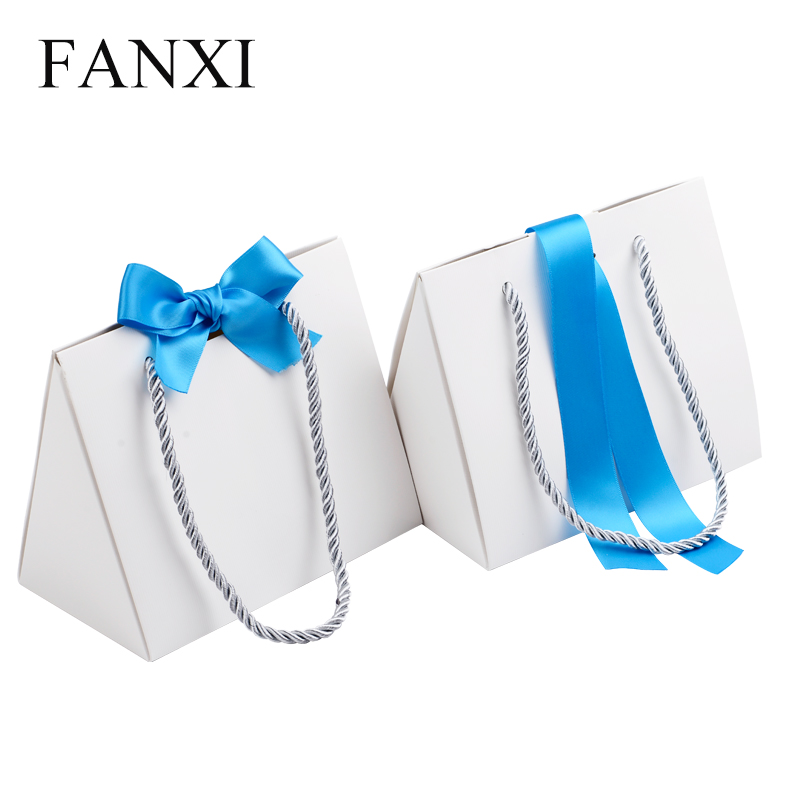 Wholesale custom foldable ribbon shopping gift bags with handle jewelry packaging white paper bag