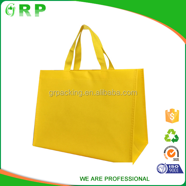 Convenient durable double handles foldable polyester yellow shopping bag