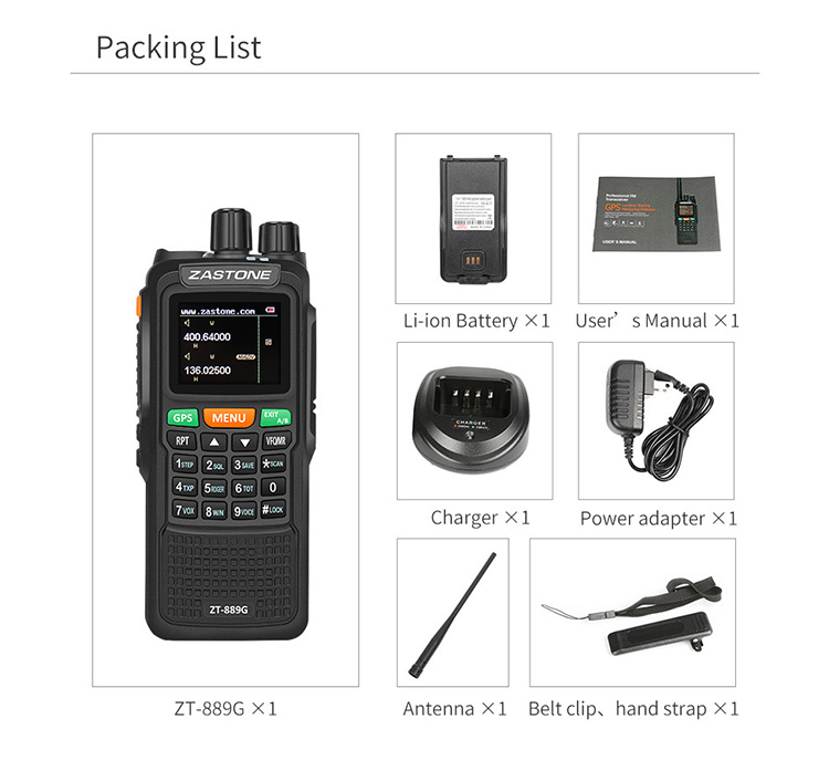 2018 ZASTONE ZT-889G VHF and UHF LCD display  calling  police 10w GPS navigation dual band transceiver two way radio