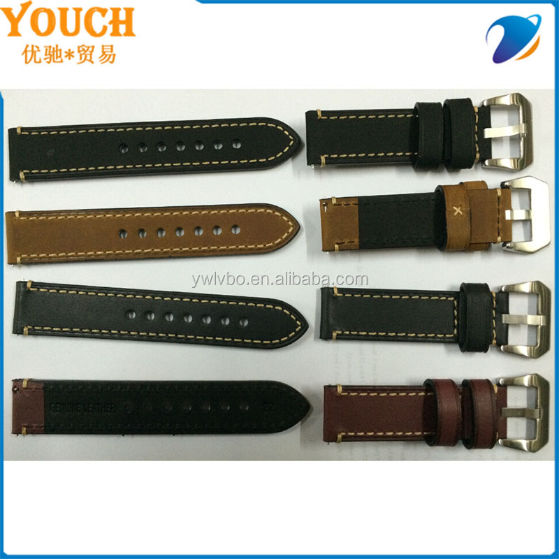 22mm Vintage 2 pieces watch strap Genuine Leather Watch Band Strap Clasp leather strap stock supplier