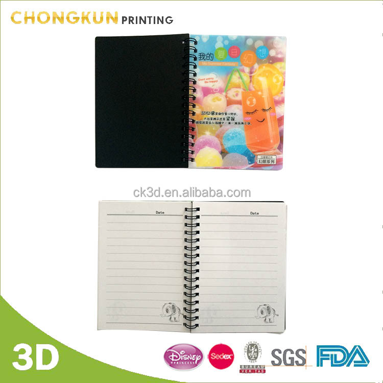 A6 size spiral notebook with 3D lenticular cover