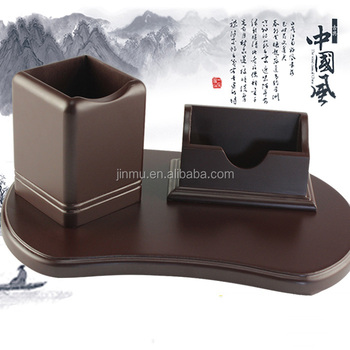 High quality office wooden pen holder container and business card holder box