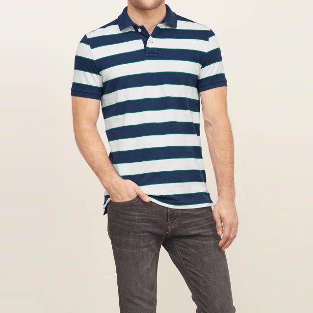 latest fancy short sleeve striped polo t shirt men's shirt