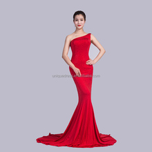 Latest night dress One shoulder Sequin Fishtail dresses Women with beaded design