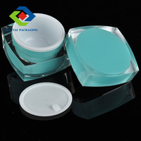 30gm blue plastic cosmetic packaging, cheap square plastic mason jar cream container