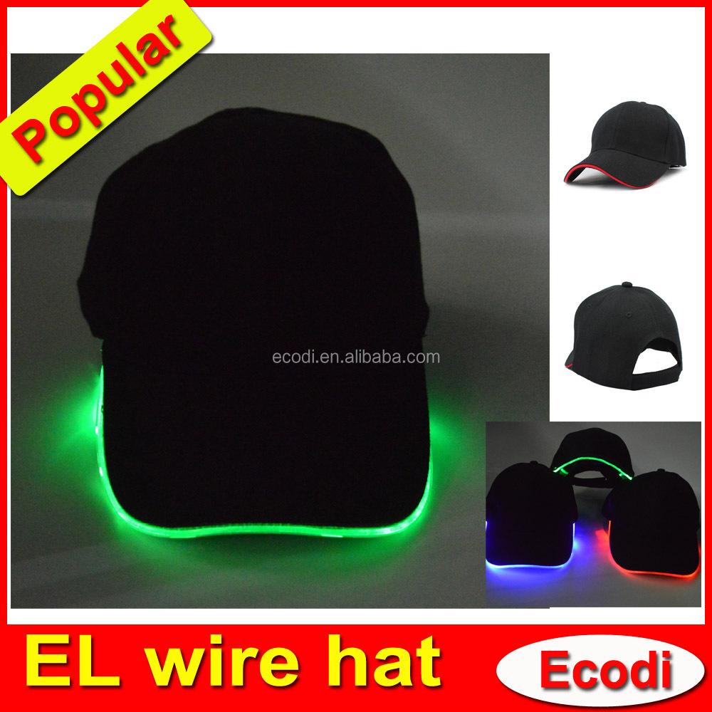 Wholesale flashing novelty hats, cotton el glowing light hat, glowing up el hat