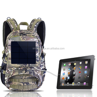 Camo material solar panel leisure backpack with power bank