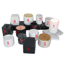 square marble unique black candle jars with wooden lids