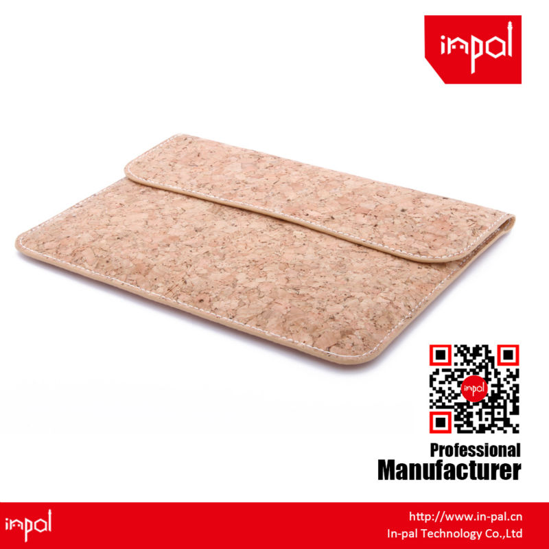 New arrivals well-stitched protective envelope cork leather bag for apple ipad mini