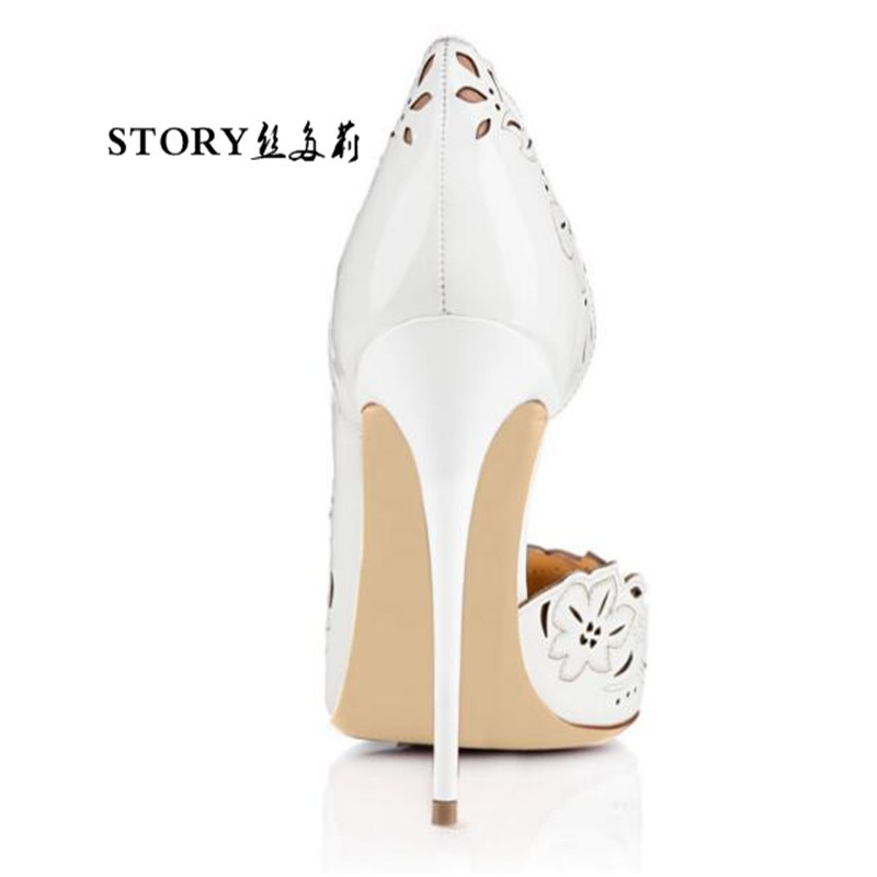 plus size fashion summer wedding bridal sexy women ladies hollow leather flower pointed toe shoes stiletto pump high heels