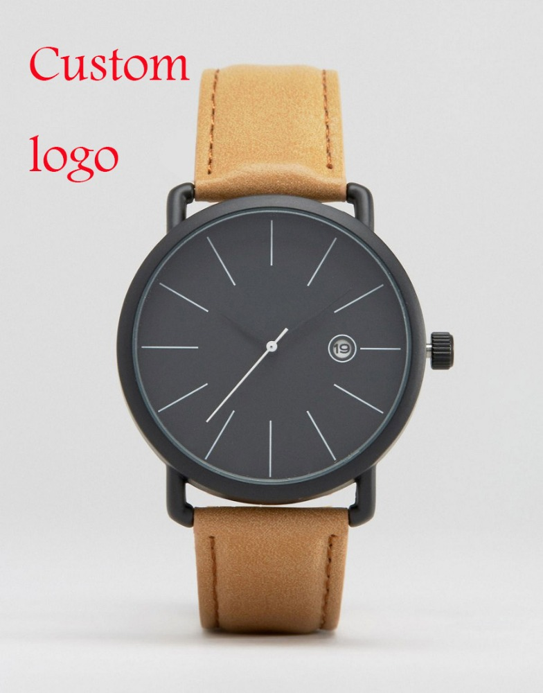 Fashion Watch Custom Logo Women Men Clean Calender Wrist Watch Own Brand Customize