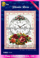 counted cross stitch flowers embroidery clock kits