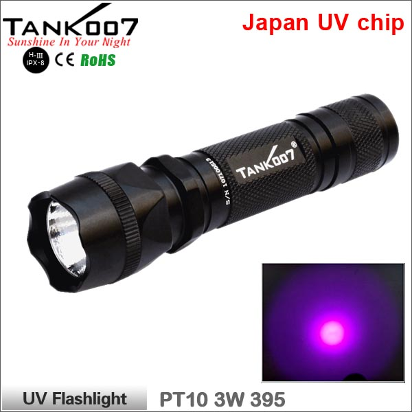High performance waterproof 3W UV flashlight ultraviolet light for checking fluorescent agents/leaks/fake banknotes