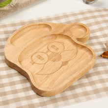 Baby Infant Feeding Kids Dish Set Rubber Wood Plate Santa Claus