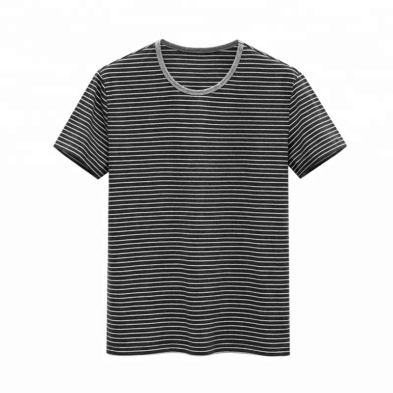US Sizing Men's Cotton T-Shirt Contract Color Striped Wear Classic Round Neck Garment Wholesale China