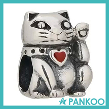 Lucky Cat Pink Enamel Authentic 925 Sterling Silver Animal &Pet Charms