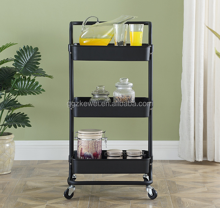 Steel Six-layer storage rack with wheels  ,  ABS plastic with high loading weight, demand color for bulk order, YHN-ZJT-3WH