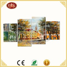 4/Asst Village Scenery Design Oil Painting On Canvas, Group Painting For Wall Decortaion