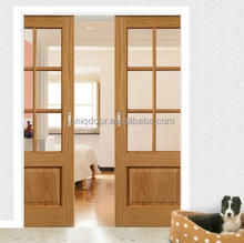Glass double sliding pocket Wooden Door