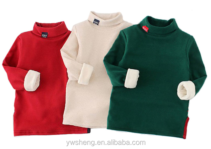 Boys velvet bottom shirt children 's solid color turtleneck long - sleeved T - shirt stock