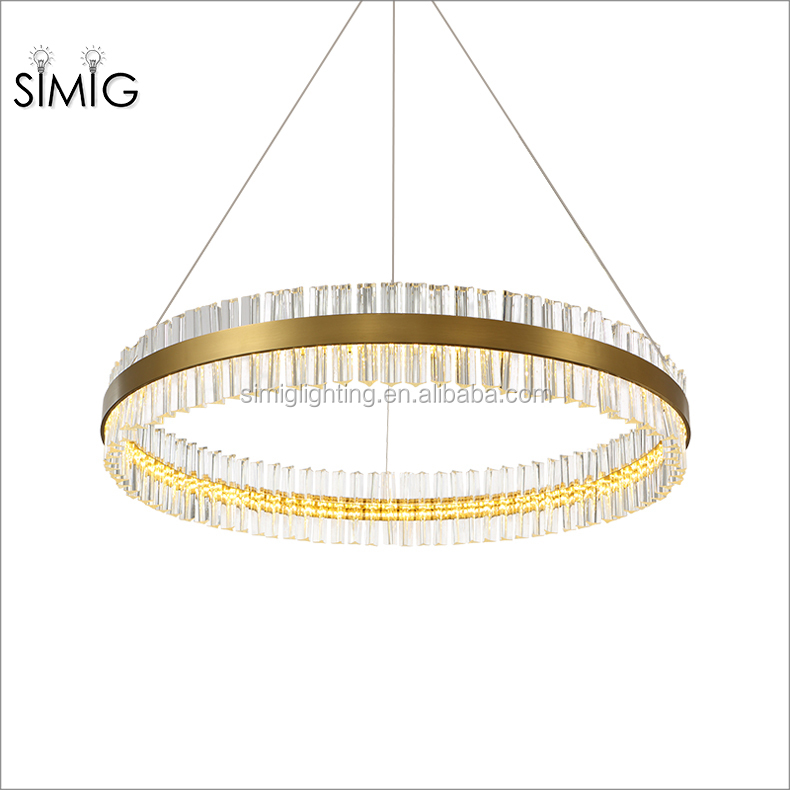 2017 modern luxury round lampshade led crystal pendant chandelier lamp