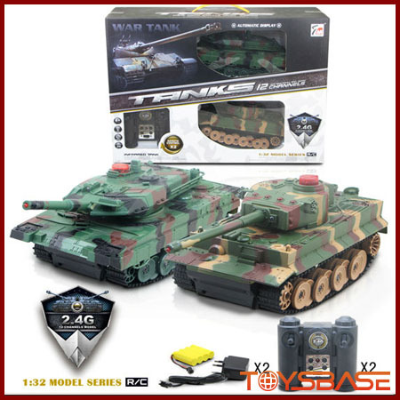 1 32 Scale 2.4G Infrared Battle Mini RC Tank (Twin Pack)