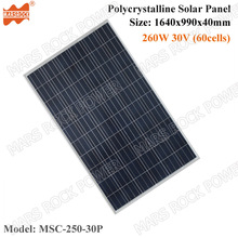 250W 30V (60cells) 1640x990x40mm Polycrystalline Solar Panel